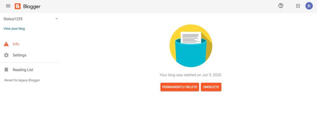 delete a blogger blog